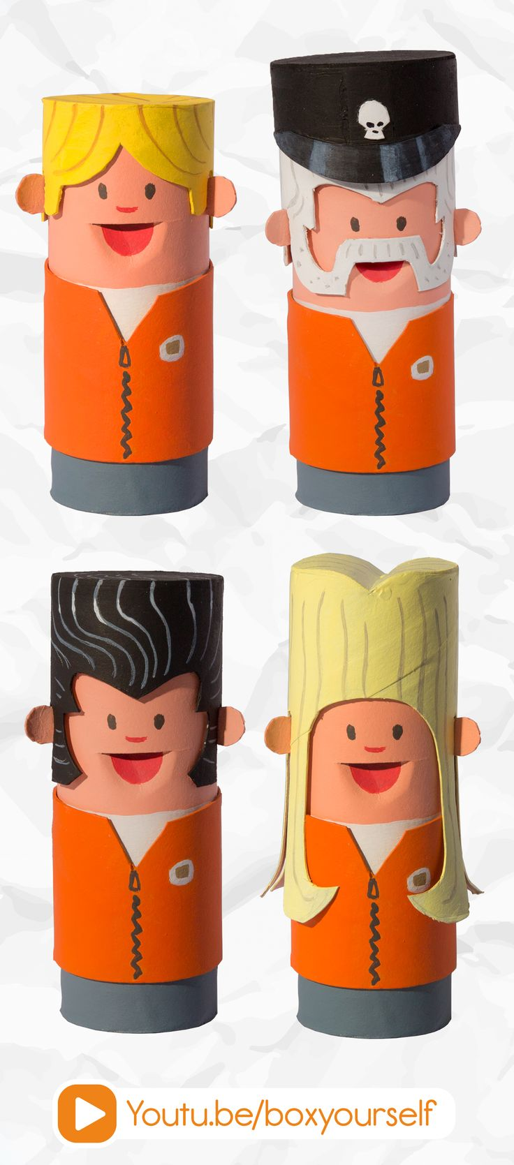 Toilet Tube Figures! #boxyourself #diy #crafts #kids #projects #ideas #make #learn #cardboard #toilet #roll #home #decor #decoration #figures #handmade #toys #creative #creativity #inspiration #art #upcycle #paper #craft