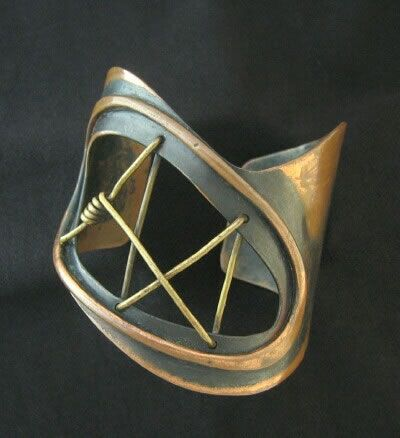 Modernist / Studio Artist / Art Smith Signed Vintage Jewelry / Copper and brass cuff bracelet; c. 1950s
