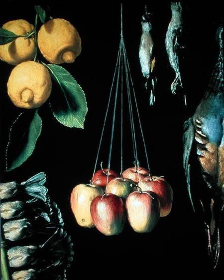 Juan Sanchez Cotan - Thanks bra Still life with dead birds, fruit and vegetables, and twain.