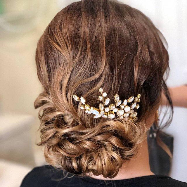 Wedding Hair Pins Gold Opal Hair Pins Bridal Hair Pins Set of TWO Wedding Opal Stone for Bride Mini Comb PAIR Jeweled Mini Combs Clips