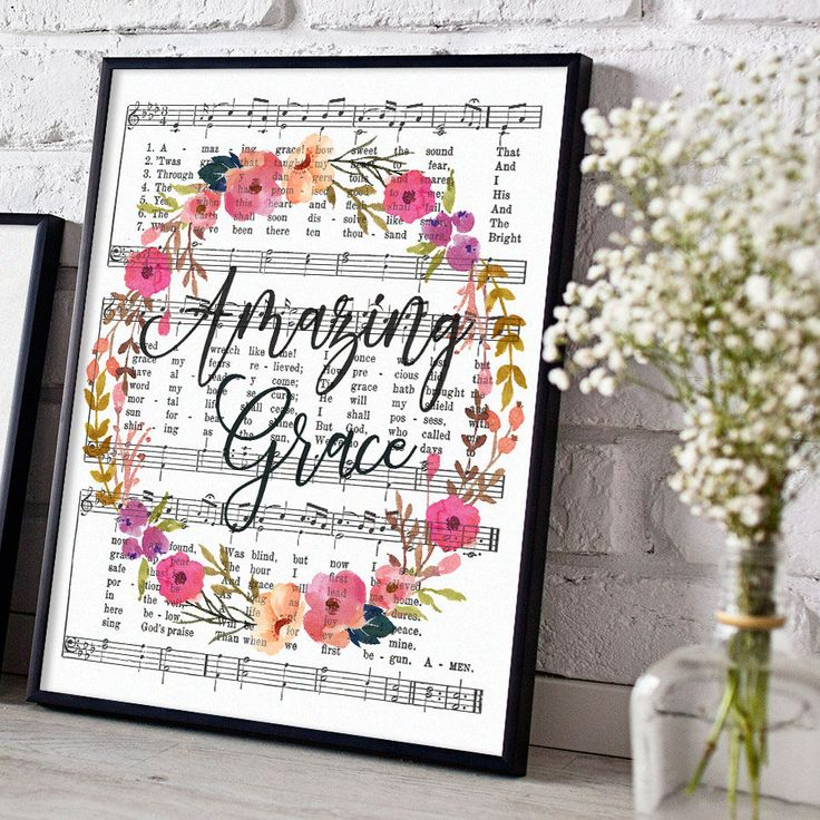 Printable Amazing Grace Hymn Art, Sheet Music, Instant Download, Hymnal Print, Inspirational Quote, Floral Scripture Decor, Christian Art by DownThePathCreations on Etsy