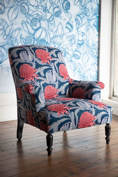 Beautifully restored antique French armchair furnished in our striking Waratah Heritage premium upholstery linen. A stunning inclusion in any room. Available through local and international agents, Nicky Rising (LA), Studio Four (NYC), Supply Showroom (Texas) and our Sydney Showroom in Paddington.
