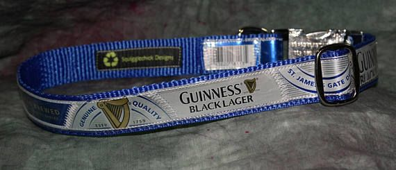 Adjustable Dog Collar from Recycled Guinness Black Lager Beer labels