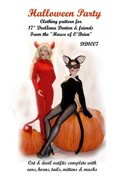 Halloween costume pattern for DeeAnna Denton and Similar size dolls, includes pattern for both a devil and cat