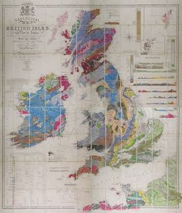 Geological Map of the British Isles and Part of France showing also the Inland Navigation by, means of Rivers and Canals, The Railways and Principal Roads and Sites of the Minerals... | Sanders of Oxford
