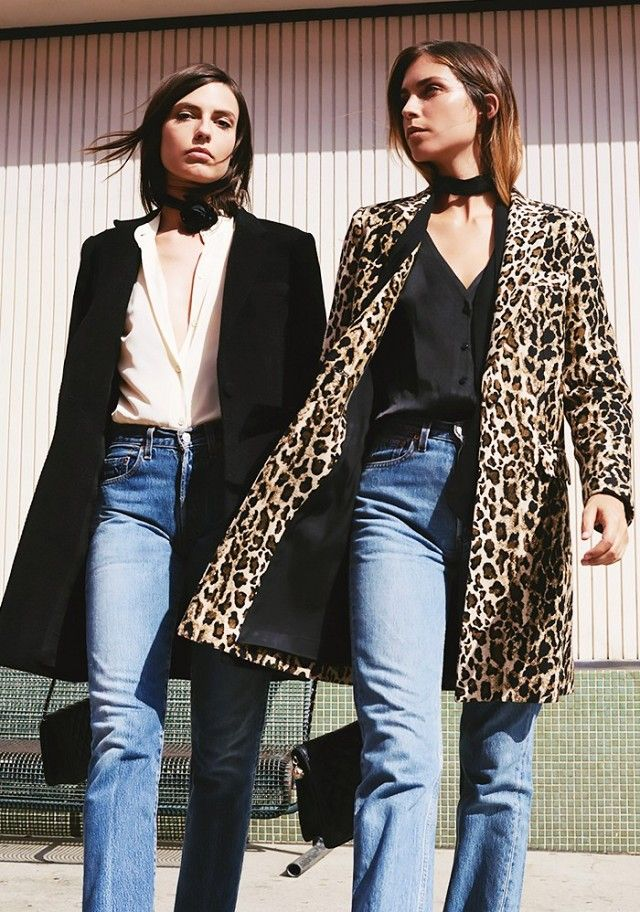 Left, a silk button-down is worn with a black coat and jeans. Right, a silk black button-down shirt is worn with a leopard-print coat, skinny scarf, and jeans