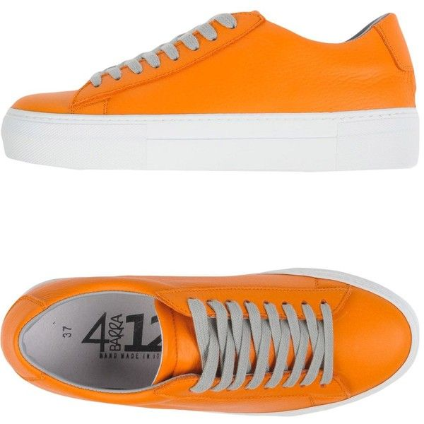 Quattrobarradodici Sneakers ($107) ❤ liked on Polyvore featuring shoes, sneakers, orange, real leather shoes, orange shoes, rubber sole sneakers, leather trainers and genuine leather shoes