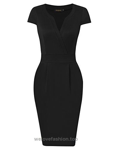 Women Vintage Short Sleeve Office Work Business Black Bodycon Pencil Dress (S, Cap Sleeve Black) BUY NOW $21.99 Women Vintage Short Sleeve V-neck Office wear to Work Business Bodycon Pencil Dress WARM TIPS: Please check the size chart as below carefully before you buy th ..