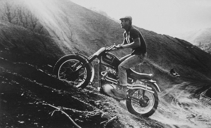Steve McQueen Racing in the Dirt, Hollywood Hills, CA, 1961 by WIlliam Claxton