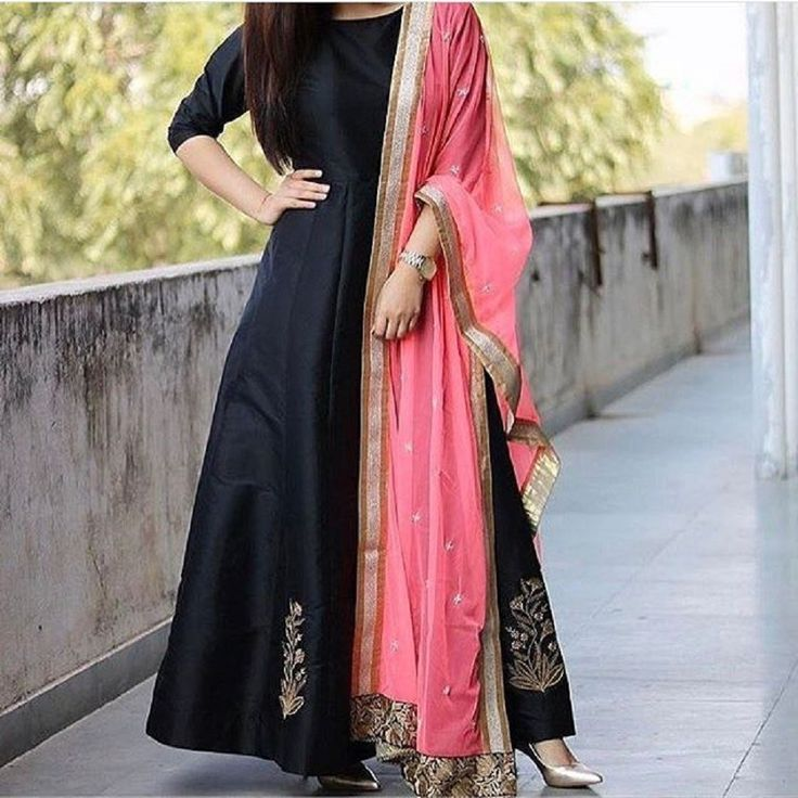 Black Tafetta Silk Machine Work Semi Stitched Long Anarkali Suit