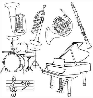 Jazz music instruments vector