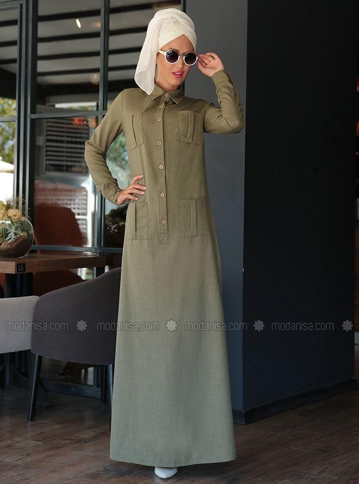 Düğmeli Spor Elbise - Haki - Selma Sarı Design