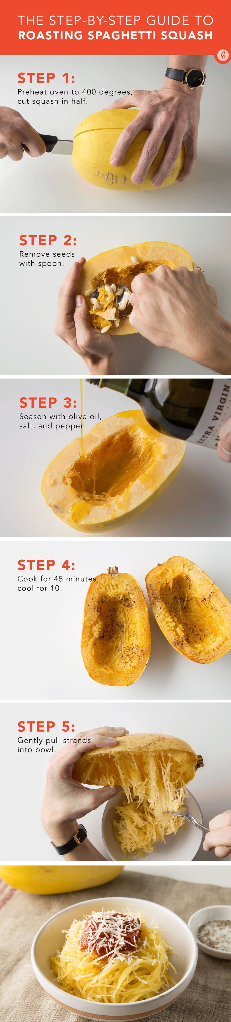 If you're sticking to a low-carb diet, starchy noodles don't exactly fit the bill. #spaghettisquash #stepbystep http://greatist.com/eat/how-to-cook-spaghetti-squash