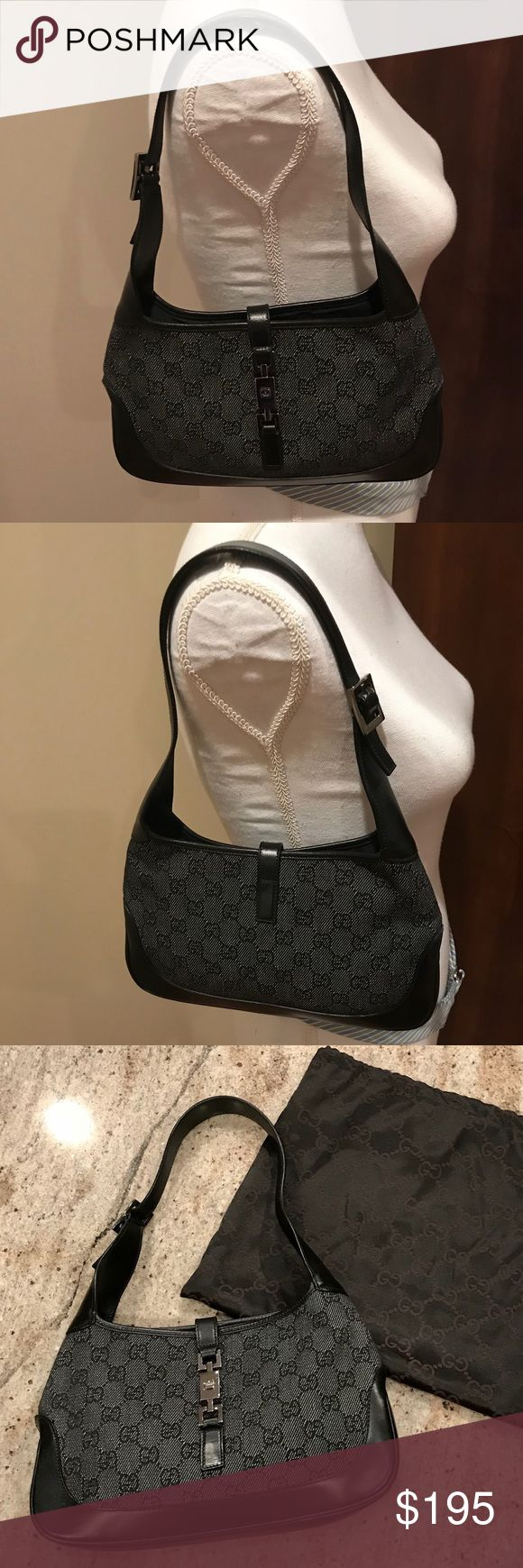 """Authentic Gucci purse with dust bag Authentic Gucci black purse 10"""" width and 6"""" in height excellent condition tags removed never used Gucci Bags Shoulder Bags #blackguccipurse"""