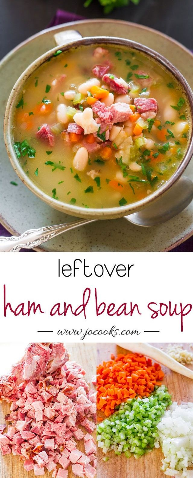 Leftover Ham and Bean Soup – perfect use of that leftover ham from Easter dinner. This soup is delicious, hearty and smells heavenly.