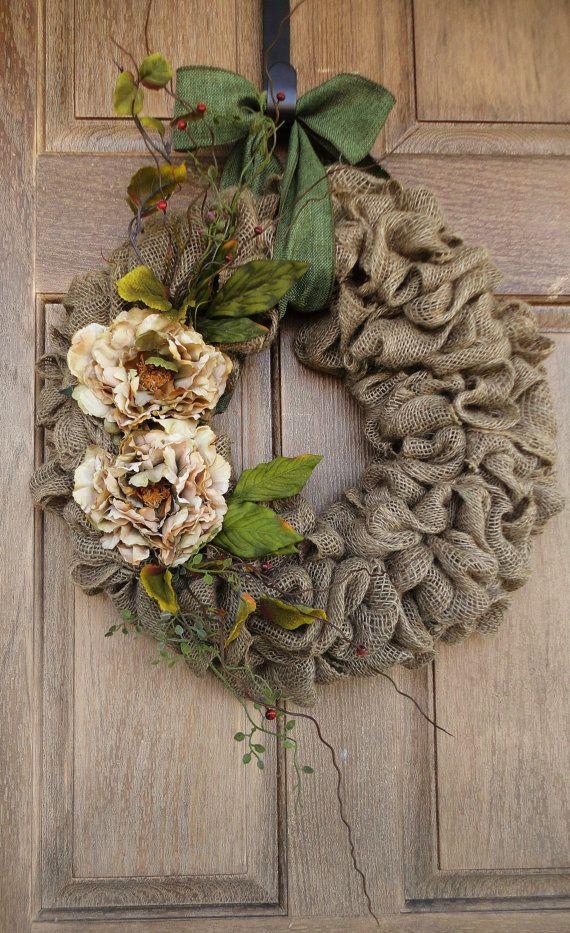 Burlap Wreath with Beige Peony flowers--Burlap Wreath with Earth Tone Flowers and Accents--Burlap Wreath--Year Round Burlap Wreath