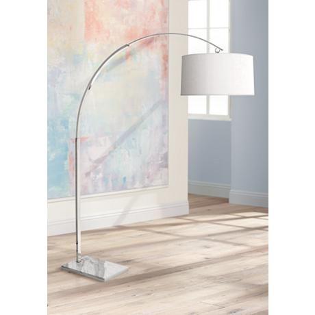 Robert Abbey Archer Polished Nickel Arc Floor Lamp - #3N256 | Lamps Plus
