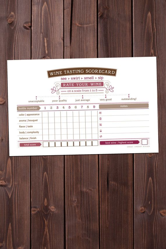 gaudi wine tasting scorecard PRINTABLE