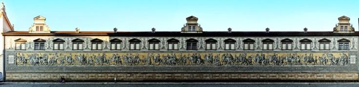 Dresden - Procession of saxon Princes (Fürstenzug) as street panorama