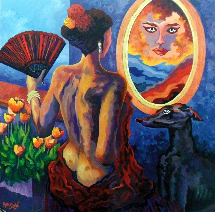 # 360 Fondo de espejo, mujer y galgo,   Autor: RomSabi, acrilico sobre tabla madera, 60x60cm
