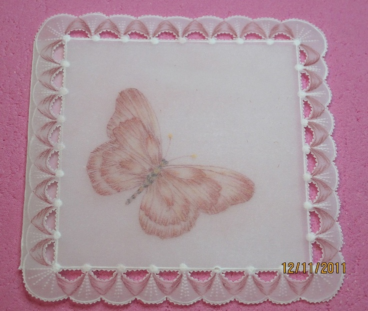 """Handmade Butterfly Card - measures 4"""" x 4""""  I can put any custom writing or custom colors for you $15.00 (made to order)  http://www.facebook.com/pages/Delicate-Designs-by-Kelly/218795744854247 Hankey, Cards Ideas, Pergamano Parches Crafts, Handmade Butterflies, Butterflies Cards, Custom Colors, Custom Writing, Papel Calcos, Parchment Crafts"""