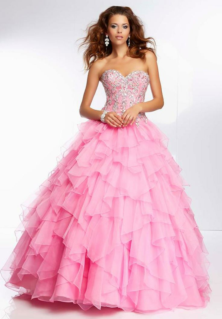 MZ0983 Strapless Ball Gown Beaded Pink and Yellow Organza Ruffles ...