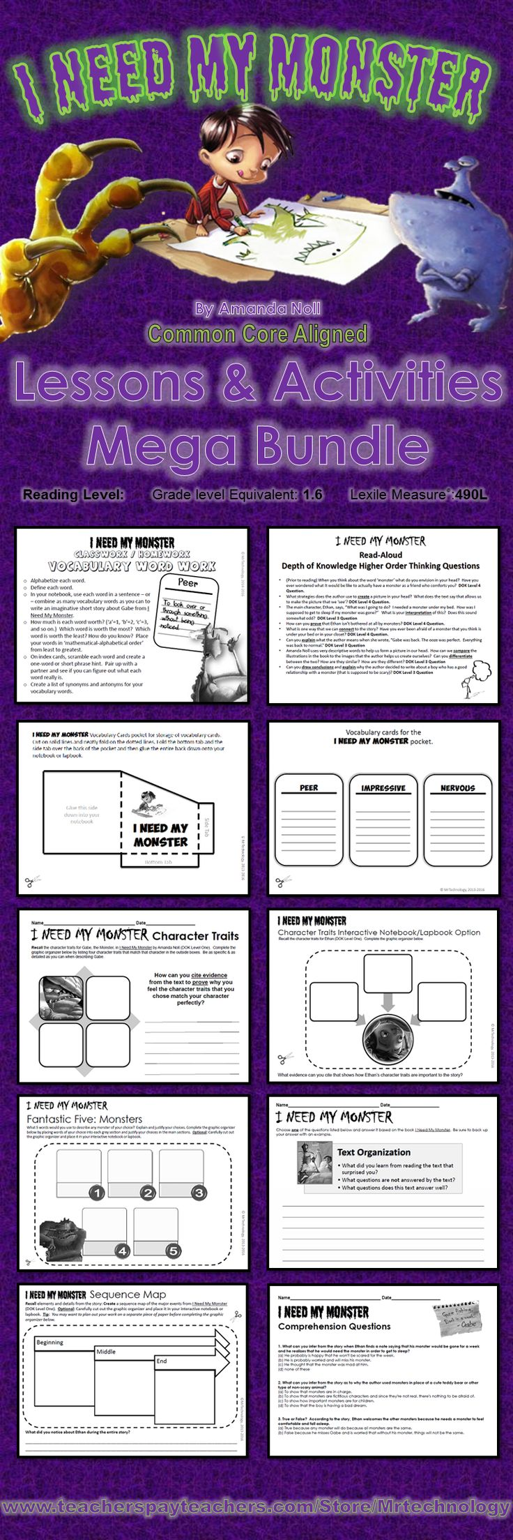 I Need My Monster Reading Lessons & Activities Bundle {CCSS Aligned} on #TeachersPayTeachers