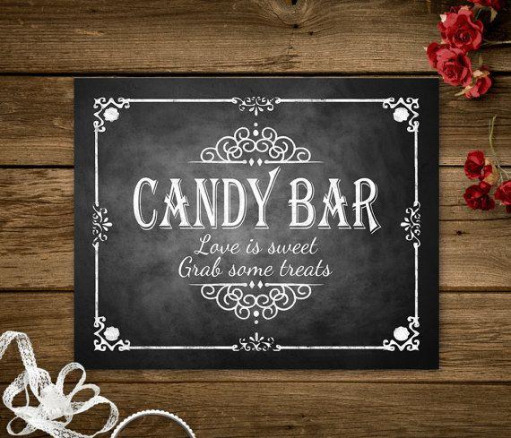 Printable Candy Bar Love is Sweet Chalkboard Wedding Sign, Wedding Shower Decorations, Bridal Shower