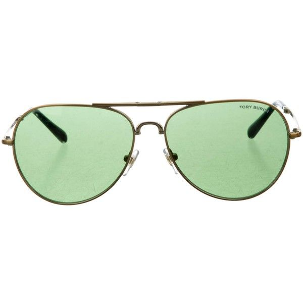 Pre-owned Tory Burch Bendable Aviator Sunglasses ($95) ❤ liked on Polyvore featuring accessories, eyewear, sunglasses, gold, aviator style sunglasses, gold aviator sunglasses, gold glasses, tory burch glasses and tory burch eyewear