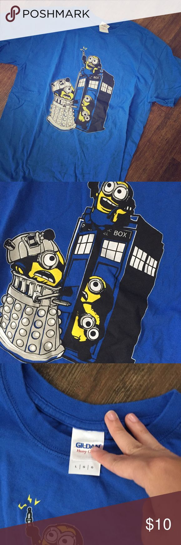 Minions doctor who shirt This shirt was never worn but is wrinkled from being folded away! I can wash it before shipping! It's super cute and great for anyone who's a fan of Doctor who!! Great condition! Please feel free to ask any questions or leave a comment!! Make an offer! 😊😊 Hot Topic Tops