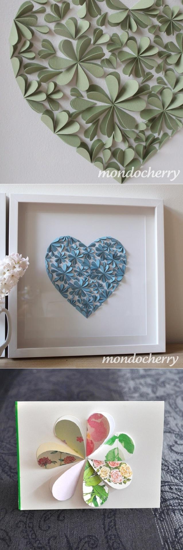 Moldes de corte ou corte em forma de coração e papel colorido. Cole apenas metade em um fundo contrastante.