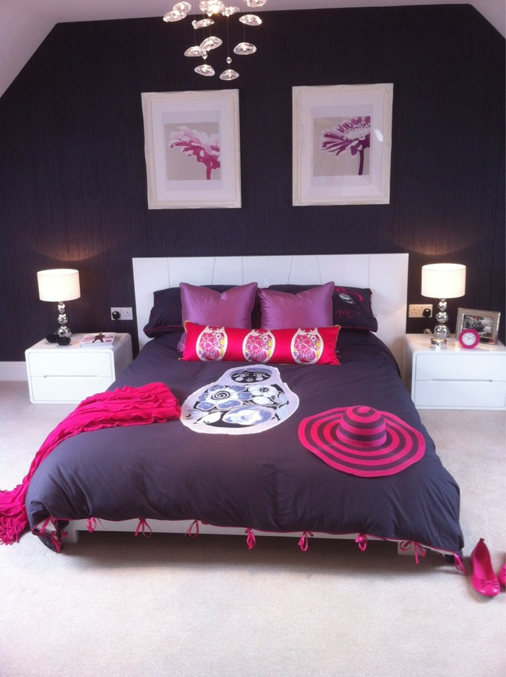 Our Bari bed and malone bedsides, with various accessories and Meg Mathews for dwell bedding