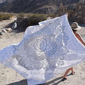 Silver Lotus Flower Large Tapestry