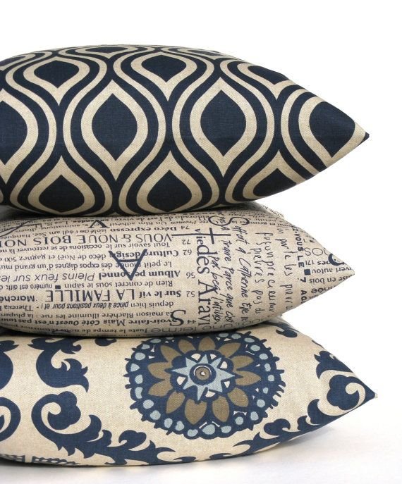 Classic Colors. ONE 18x18 Throw Pillow Cover in Blues, Grays and Tans in a modern Suzani Print. 100% cotton designer home decor fabric. *East &