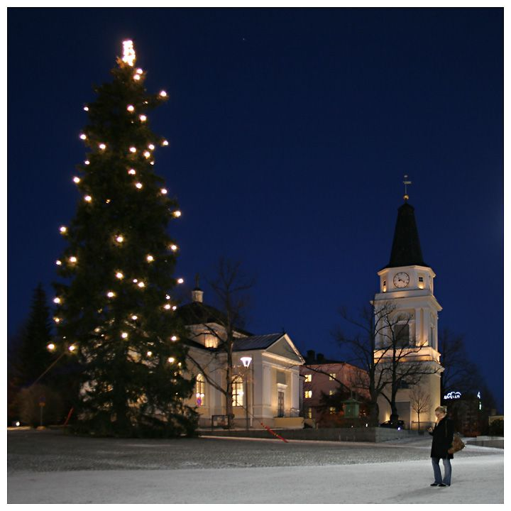 Christmas in Tampere, Finland. Looks very like the church my friends were married in.