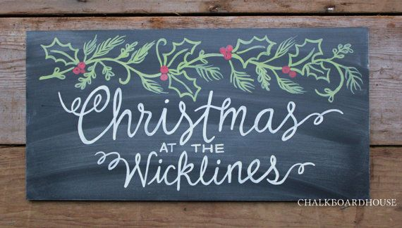 Hand Painted Chalkboard Christmas Holly Sprig Sign with Color - 10x20 Unframed Chalkboard Art via Etsy