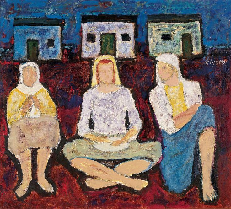 Nuri İyem - Üç Kondu Güzeli (1997, 50x45, Tual üzerine yağlıboya)