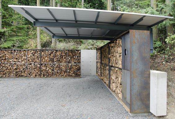 anthony pellecchia utilizes steel, concrete, & wood in villa lucy carport: