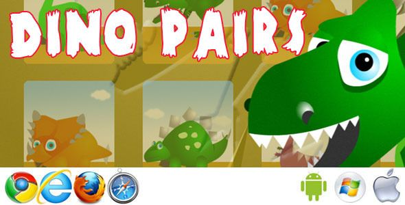 Dino Pairs . Kids matching pairs game. Match the dinosaur pairs to complete the game. Three levels including easy (x3 pairs), medium (x4 pairs) and hard(x6