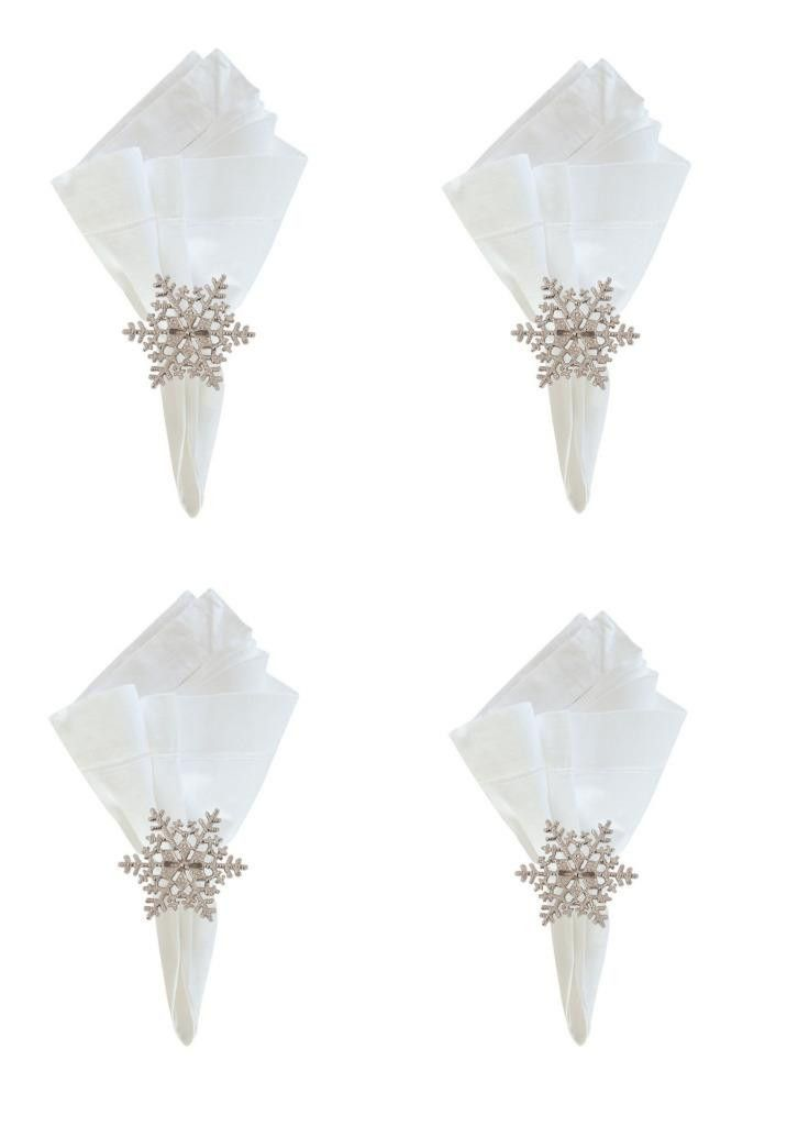 C F Snowflake Winter Metal Christmas Napkin Rings, Set of 4                                                                                                                                                                                 More