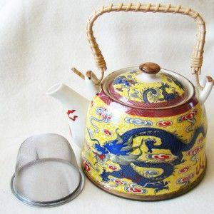Chinese theepot met filter, geel met blauwe draak - O10630 - TheSouq