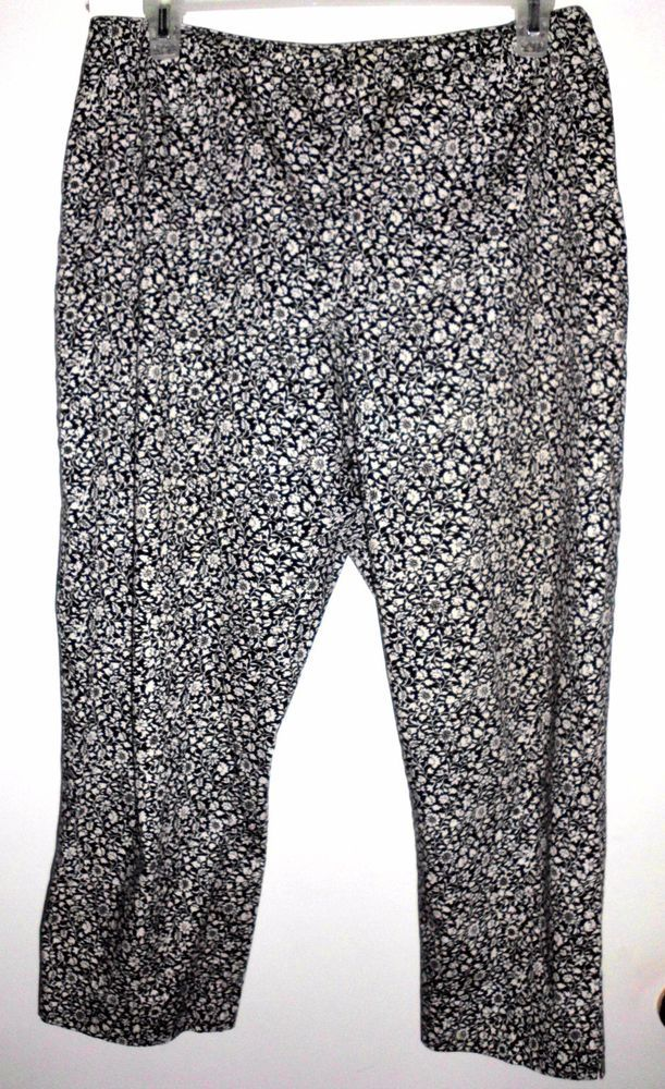 ANN TAYLOR STRETCH Black & White Floral Cotton-Blend Cropped Pants Sz 8P Women's #AnnTaylor #CaprisCropped