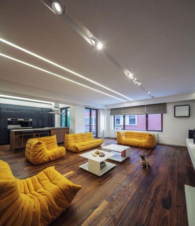 Gelbe Wohnzimmergarnitur Modernes Appartement Von Studio 1408
