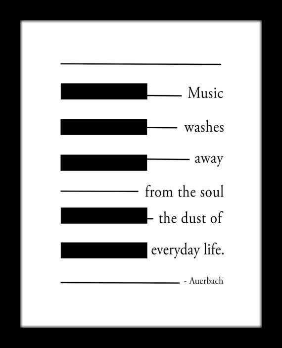 Auerbach Music Quote Black and White Piano by MusicArtandMore