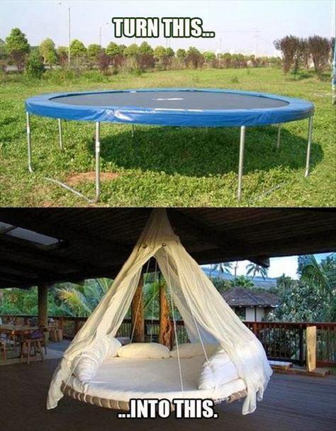 Wie verwandle ich ein Trampolin in eine luxuriöse hängende Lounge