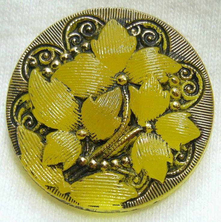 Czech Glass Button Trans Yellow Glass Nouveau Trillium