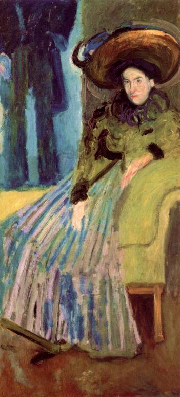 Richard Gerstl (Autriche, 1883-1908) – Sitzende Frau in grünem Kleid (Femme assise en habit vert, 1908)