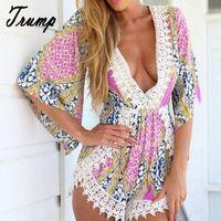 2015 moda de verano mujeres Floral Print Short trajes de encaje de ganchillo Irregular de los mamelucos para mujer Beach Sexy profundo escote en v mono