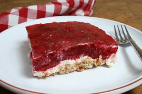 I love, love, love raspberry pretzel cake. I could eat the whole pan when put in front of me