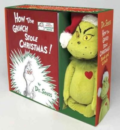 A Grinch book and plush package perfect for holiday gift-giving! Is there any better holiday gift than a copy of Dr. Seusss beloved classic How the Grinch Stole Christmas ? Yes! A copy of the book pac